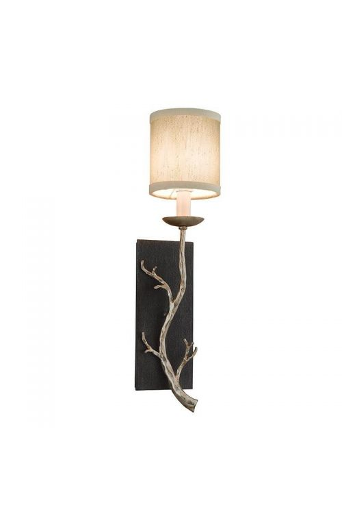 Troy Adirondack 1 Light Hand Forged Iron Wall Sconce In Graphite / Silver Leaf Hardback Linen Glass - B2841