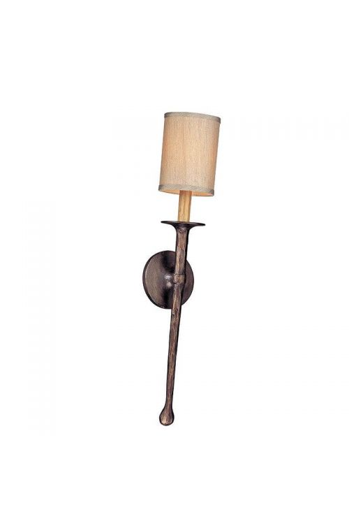 Troy Lighting 1 Light Wall Sconce In Pompeii Bronze With Hardback Linen Glass - B2901