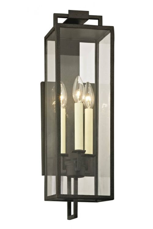 Troy Lighting Beckham 3 Light Outdoor Wall Lantern In Forged Iron - B6382