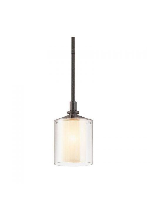 Troy Arcadia French Iron 1 Light Mini Pendant In French Iron Clear Outer / Ribbed Provence Inner Glass - F1719FR