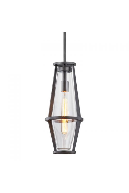 Troy Lighting Prospect 1 Light Hanging Lantern in Graphite with Clear Glass F7617