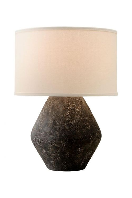 Troy Lighting Artifact 1 Light Table Lamp in Graystone with Off-White Hardback Linen Shade - PTL1006