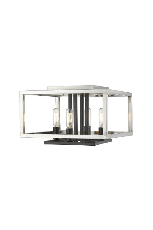Z-Lite Quadra 4 Light 13 Inch Flush Mount In Brushed Nickel-Black 456F-BN-BK