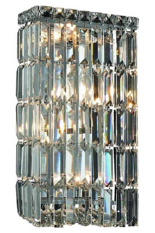 Crystallo Lighting 4 light Chrome Wall Sconce Clear Crystal