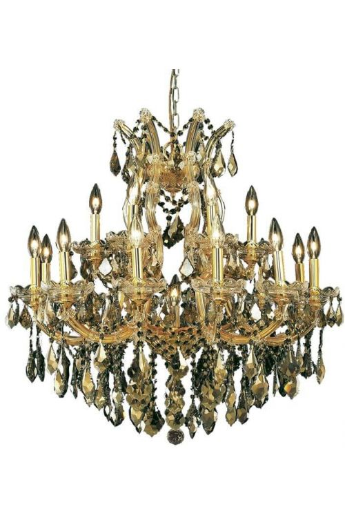 Crystallo Lighting 19 light Maria Theresa Gold Chandelier Golden Teak Crystal