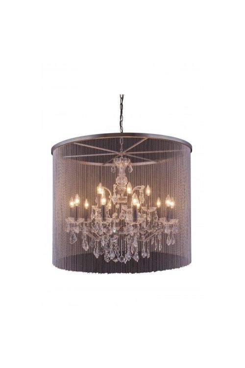 Crystallo Lighting 15 light Matte Black Chandelier Clear crystal