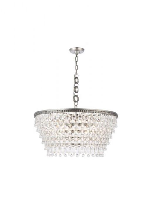 Crystallo Lighting 6 light Antique Silver Chandelier Clear Crystal