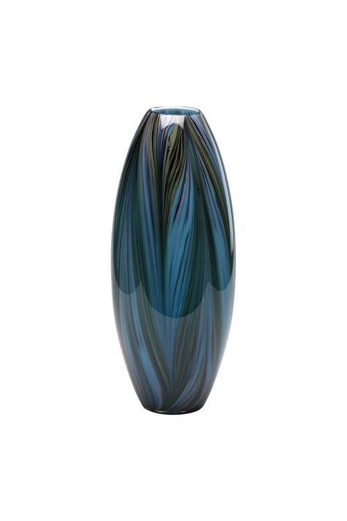Cyan Design Peacock Feather Vase In Multi Colored Blue - 02920