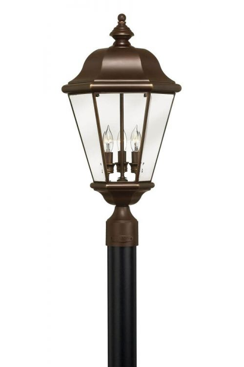 Hinkley Lighting Clifton Park 3 Light 24 Inch Tall Large Outdoor Lantern In Copper Bronze With Clear, Beveled and Bound Glass 2421CB