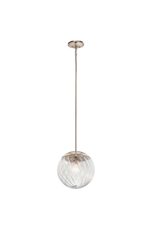 Kichler Amaryliss 1 Light Pendant in Polished Nickel with Clear Swirl Glass - 44132PN