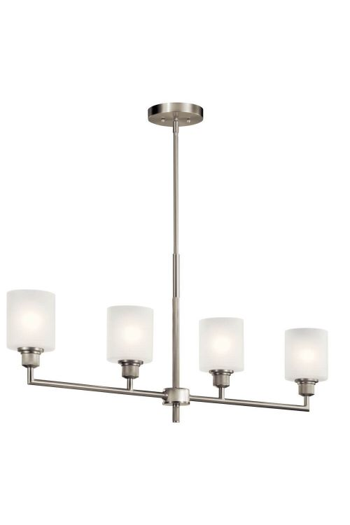 Kichler Lynn Haven 4 Light Single Linear Chandelier in Brushed Nickel with Satin Etched Glass 52285NI